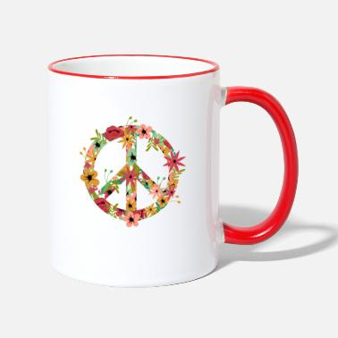 Girls Peace Hippie Flower Power - Two-Tone Mug