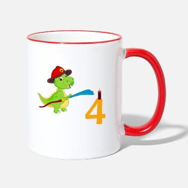 Fire Department Dino 4 Birthday - Two-Tone Mug