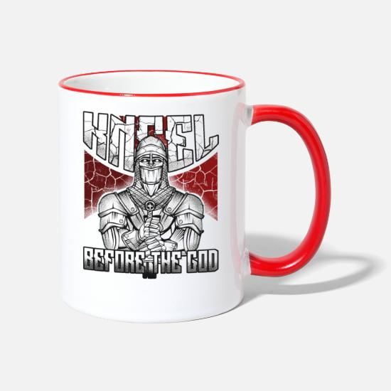 Templar Knights Mugs & Drinkware - Knights Templar Knights Crusaders Middle Ages - Two-Tone Mug white/red