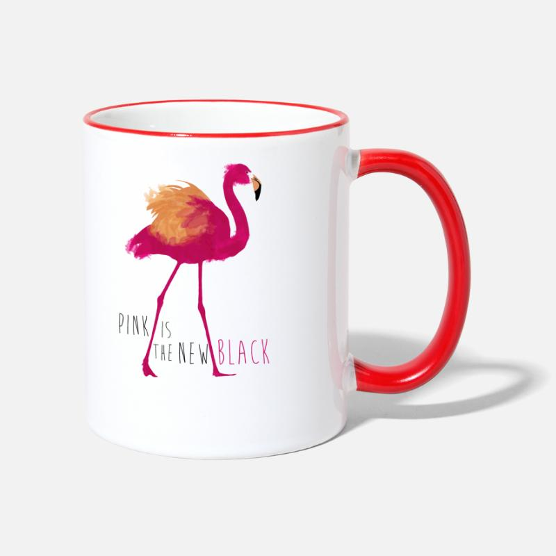 Flamingo Tassen & Zubehör - Animal Planet Flamingo Pink is the new black - Tasse zweifarbig Weiß/Rot