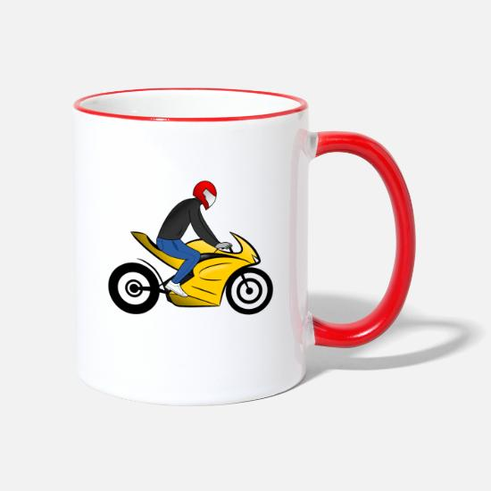 Gift Idea Mugs & Drinkware - Racing motorcycle with driver black - Two-Tone Mug white/red