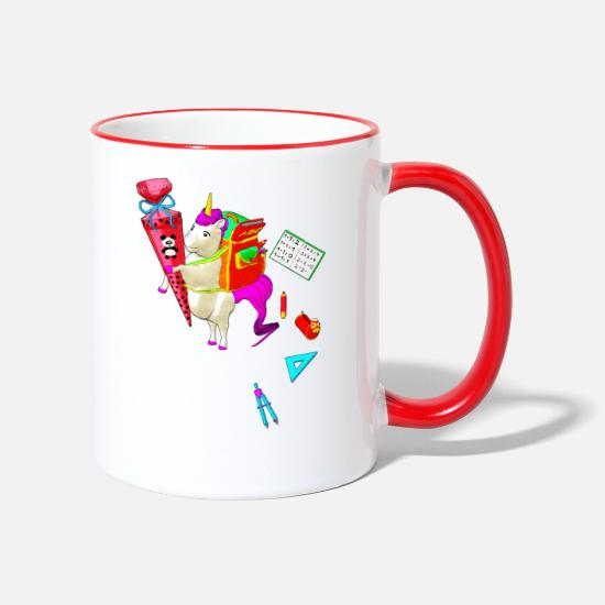 Back To School Mugs & Drinkware - Unicorn goes to school - Two-Tone Mug white/red