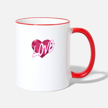 Love With Heart Love Heart Love Heart Rosa Polygon - Kontrastmugg