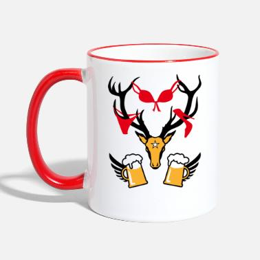 Stag Underwear 242 deer with prey deer head beer - Two-Tone Mug