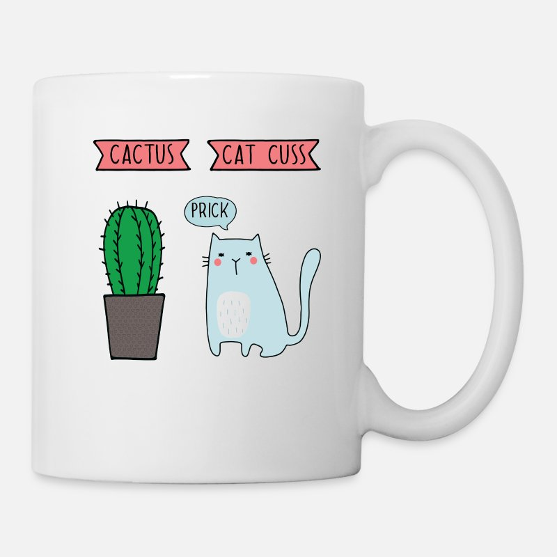 Pun Mugs & Drinkware - Funny cat cactus - Mug white