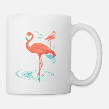 Flamants roses - pink flamingo - Mug blanc