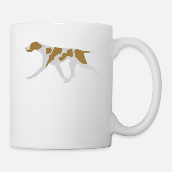 Pointer Mugs & Drinkware - Pointer (Orange and White) Trotting - Mug white