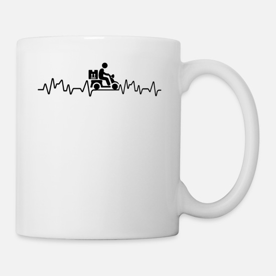 Broadcast Mugs & Drinkware - Heartbeat delivery driver t-shirt delivery - Mug white