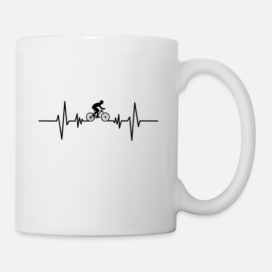 Bike Messenger Mugs & Drinkware - Bicycle driving heartbeat bicycle tour gift idea - Mug white