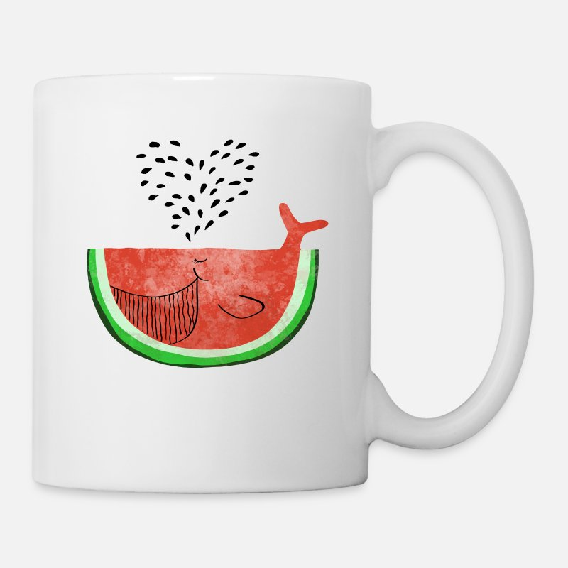 Whales Mugs & Drinkware - Watermelon Whale - Whale Melon - Fruits -Love - Mug white