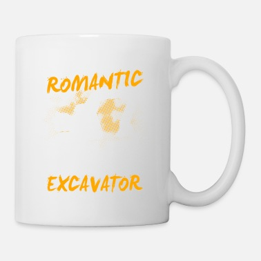 Chantier Cadeau de machine de chantier de construction de pelle · romantique - Mug blanc
