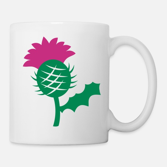 Bloom Mugs & Drinkware - single head flower of Scottish Thistle Scotland - Mug white