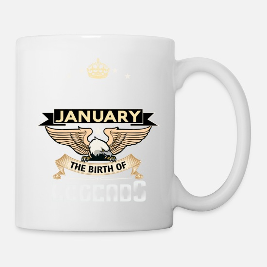 King Mugs & Drinkware - BORN IN JANUARY - Mug white