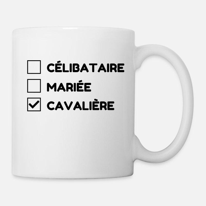 blanc Spreadshirt Vie dObstacles Jai Mon Cheval Mug blanc