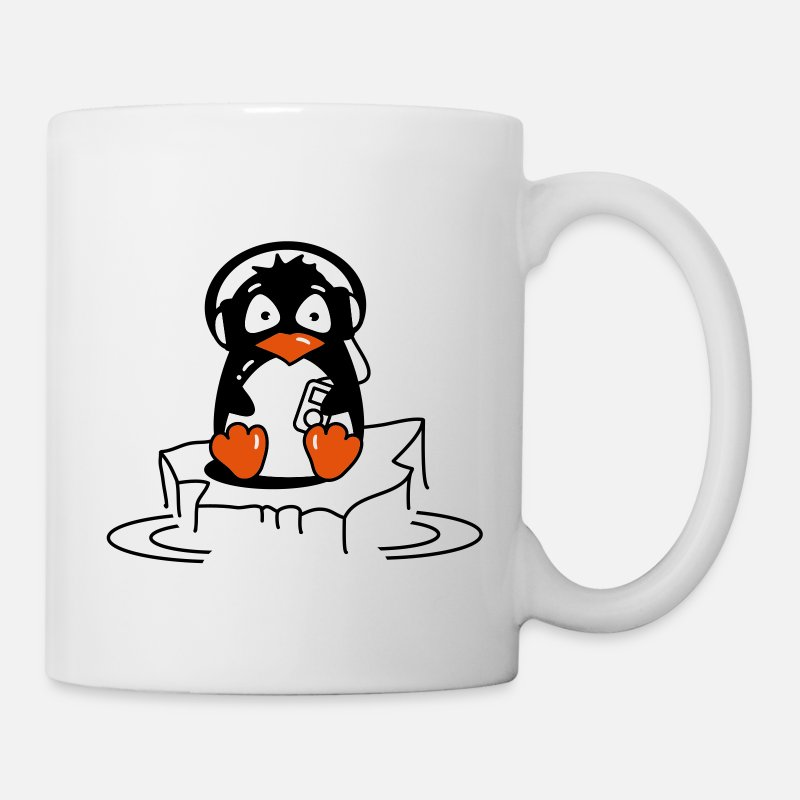 Penguin Mugs & Drinkware - Penguin is listening to music - Mug white