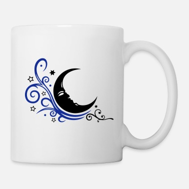 Half Moon Large moon with Tribal and stars. - Mug