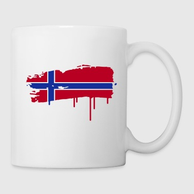 Norwegian flag painted with a brush stroke  - Mug