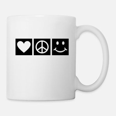 70talet  BE HAPPY Love Peace Happiness Fred Kärlek - Mugg