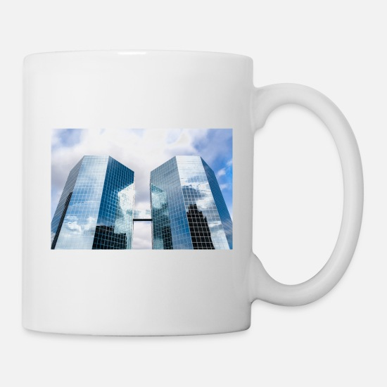Photo Mugs & Drinkware - Glass skyscraper with reflections of sun. - Mug white