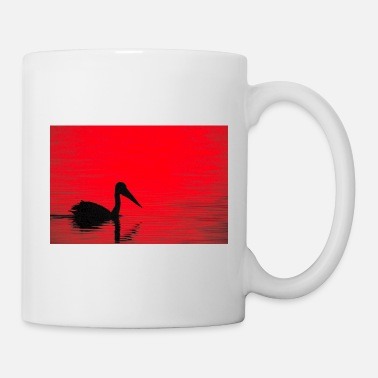 Isolated A pelican silhouette, red dawn - landscape - Mug