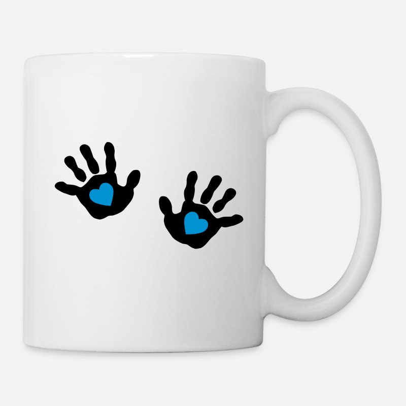 Hand Mugs & Drinkware - baby - hands - handprint - heart - Mug white