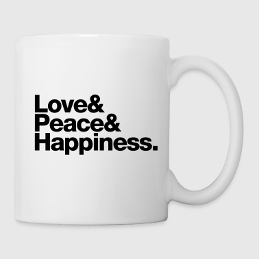 love peace happiness - Mug blanc