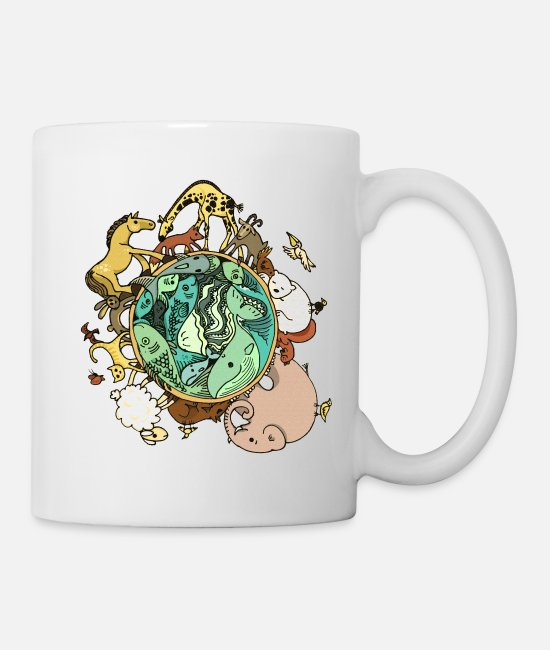 Nature Mugs & Drinkware - Nature Animal Ball World Globe - Mug white