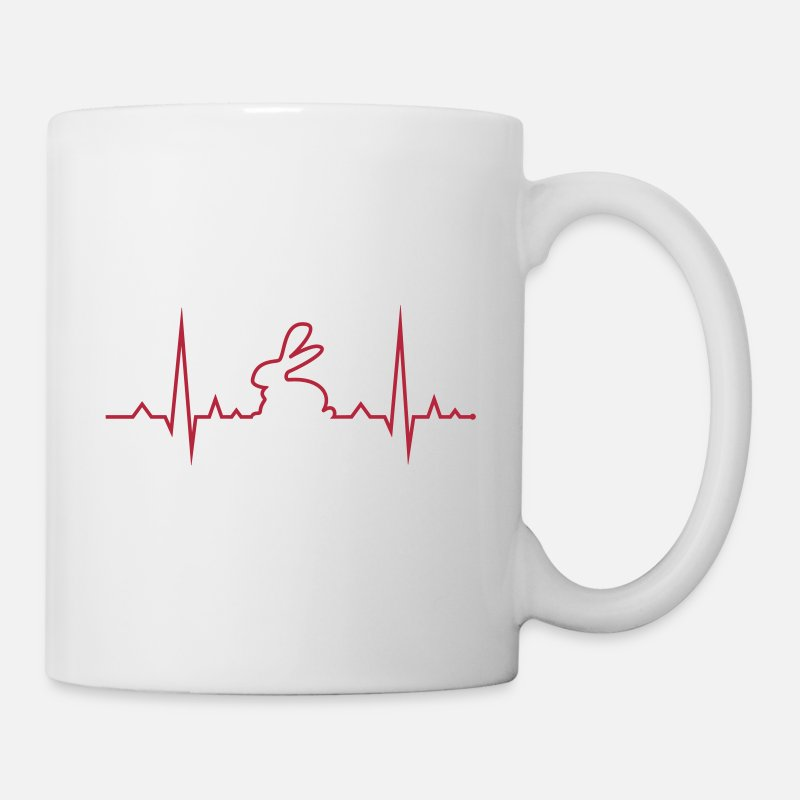 Bunny Mugs & Drinkware - bunny rabbit heartbeat ECG cony hare love - Mug white
