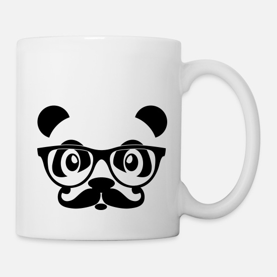 Klug Tassen & Becher - nerd panda with moustache and glasses - Tasse Weiß