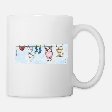 Pet Underwear Mug - Cute Fluffy Dog 'Barnaby' on a Washing Line - Mug