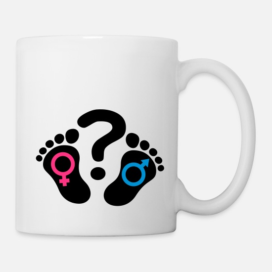 Belly Mugs & Drinkware - Question mark footprints feet icon girl boy - Mug white