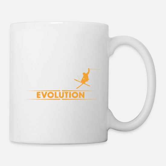 Development Mugs & Drinkware - Skiing evolution - orange/white - Mug white