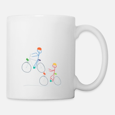 Stick Figure Stick Figure Cyclists, Bike Bike Doing Sport - Mug