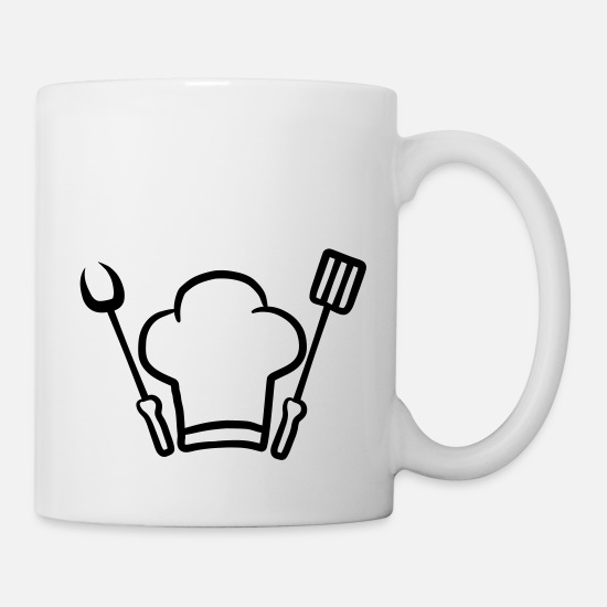 Chef Mugs & Drinkware - Barbecue grill chef hat fork spatula - Mug white