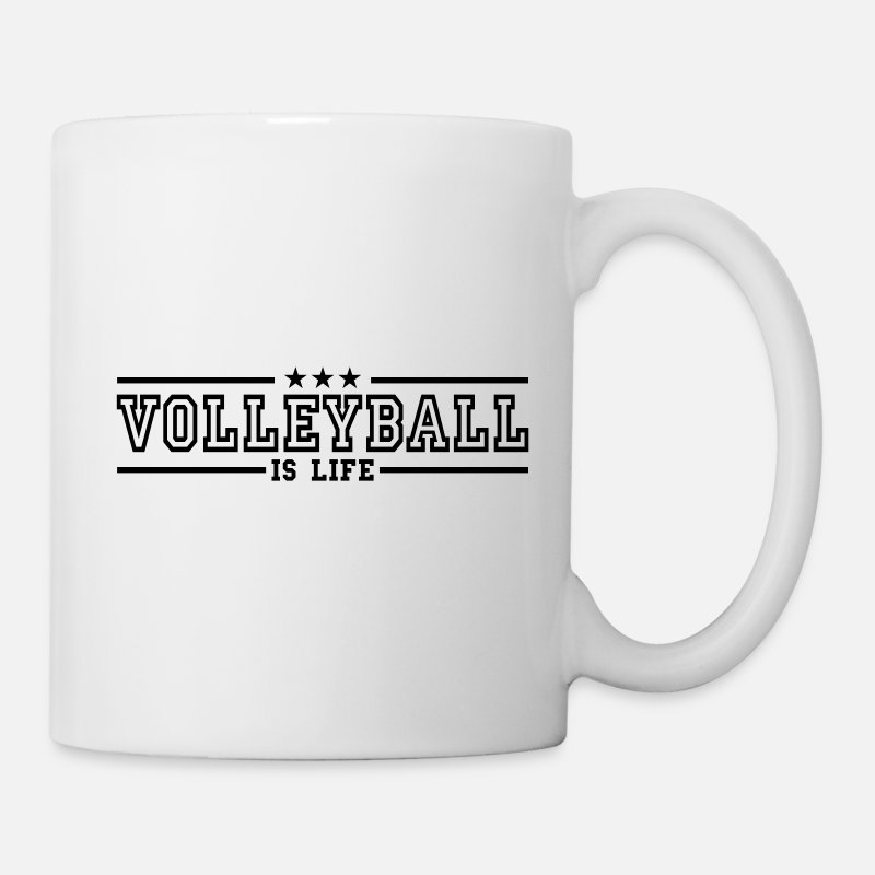 Volleyball Mugs & Drinkware - volleyball is life deluxe - Mug white