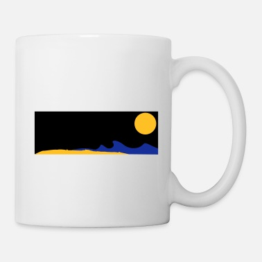 Waves Beach sun moon sea waves night full moon - Mug