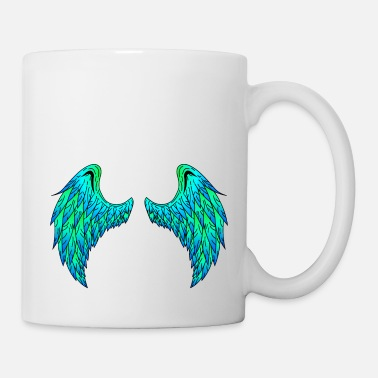 Large Angel wings (green / blue)! Gift idea! - Mug