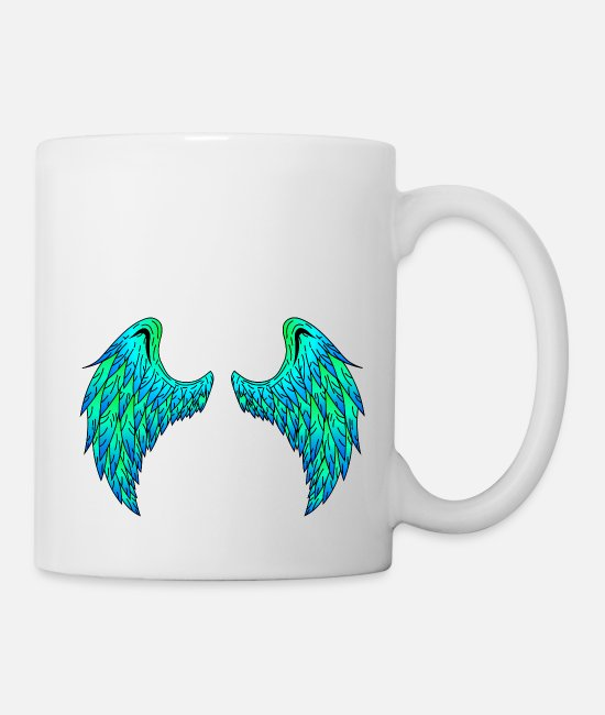Angelwings Mugs & Drinkware - Angel wings (green / blue)! Gift idea! - Mug white