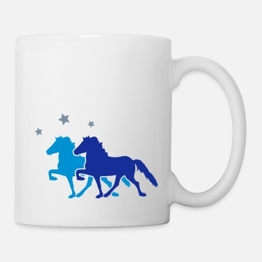 Cheval Two Horses with silver-metallic Stars - Mug