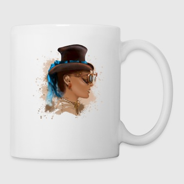 Girl face steampunk - Mug blanc