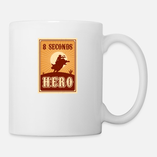 Rodeo Mugs & Drinkware - Bull Riding 8 Seconds Hero Vintage Rodeo Retro Cow - Mug white