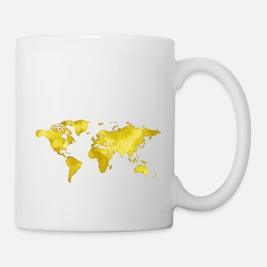 Australia Map of the World - Watercolor Look - Yellow - Tasse