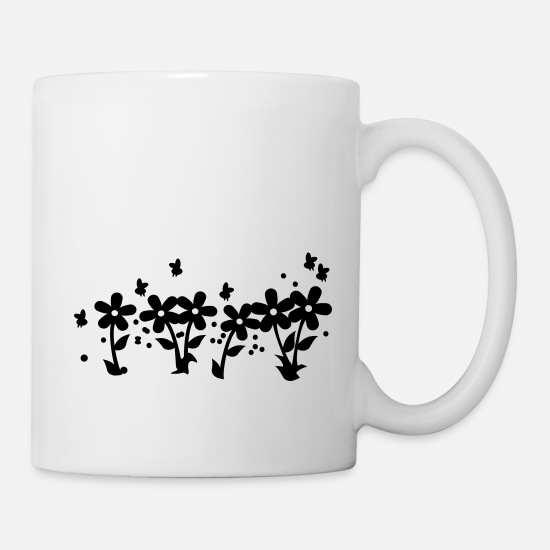 Nature Mugs & Drinkware - Bienchen in der Blumenwiese / bees in wild flower - Mug white