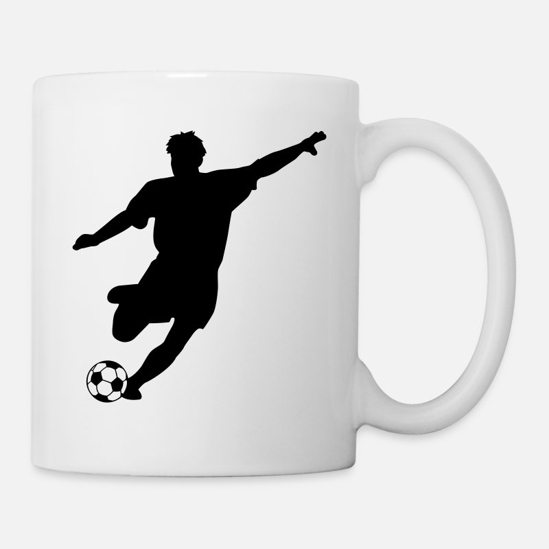 Player Mugs & Drinkware - footballer / soccer, player silhouette - Mug white