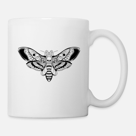 Cool Mugs & Drinkware - Death-Head-Moth / Tattoo Style - Mug white
