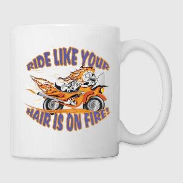 Flaming Motorcycle Skull - Mug