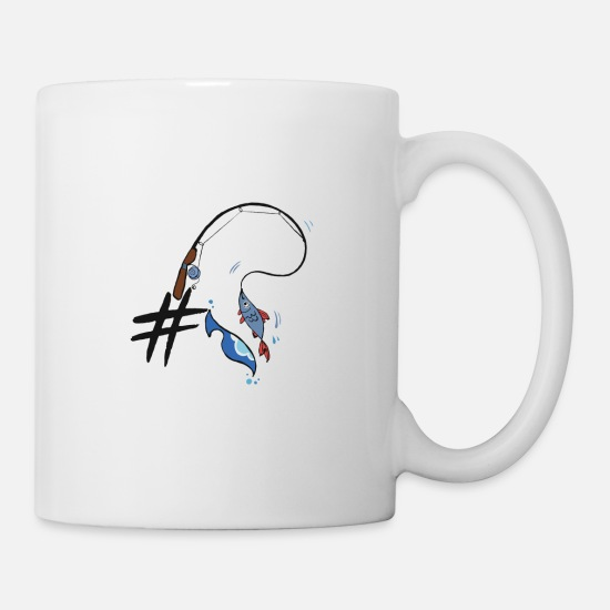 Gift Idea Mugs & Drinkware - # Hashtag fishing gift sea lake fish fisher - Mug white