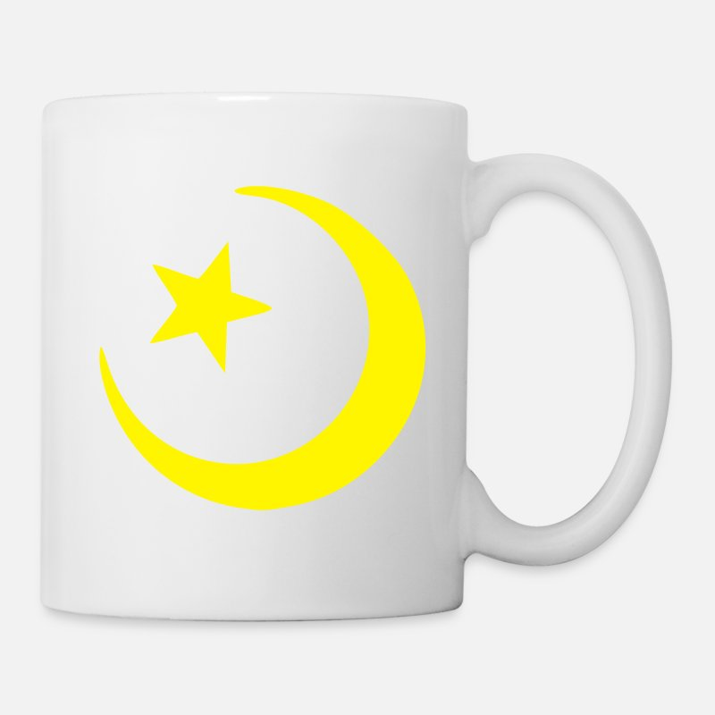 Half Moon Mugs & Drinkware - Islam - Crescent moon - Star  - Mug white
