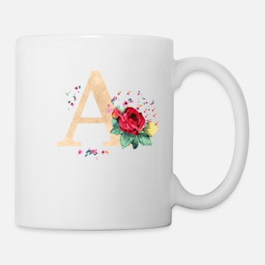 Initial Letter initial letter A initials roses - Mug