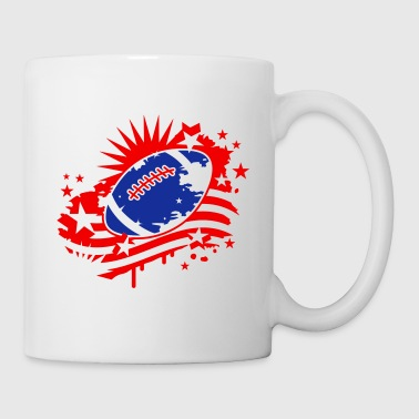Le football avec un drapeau américain, Stars and Stripes graffitis - Mug blanc